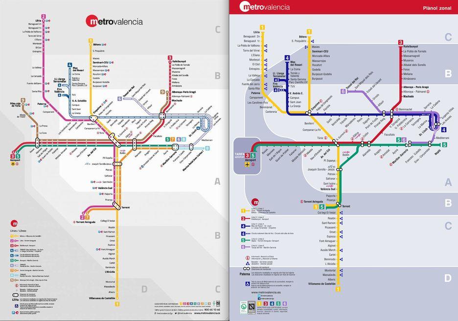 Mapa Metro Valencia 2015.Metrovalencia Plano Zonal