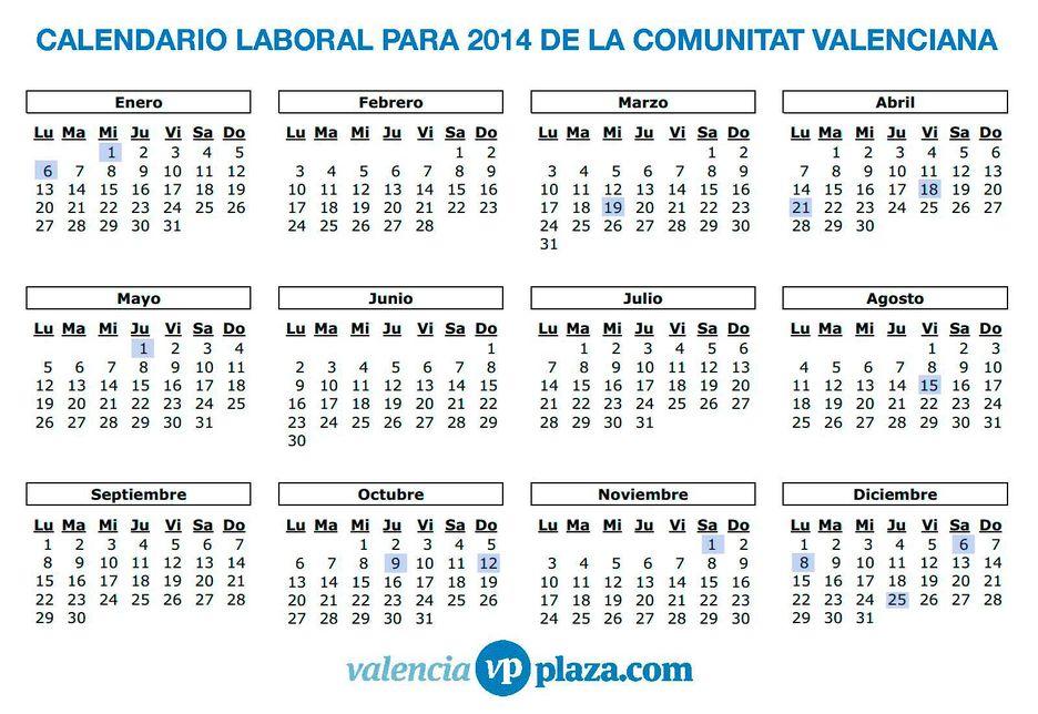 Calendario Laboral De Valencia.Asi Es El Calendario Laboral 2014 De La Comunitat Valenciana